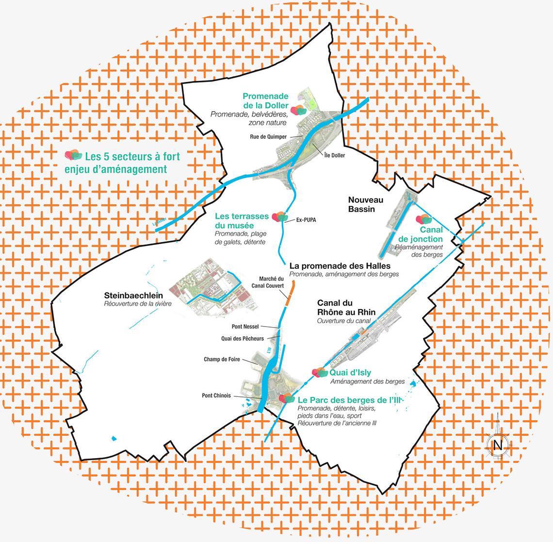 Carte des projets de Mulhouse Diagonales